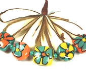 Retro Orange, Yellow and Turquoise Beads  - Painted with Glass -Floral  Lampwork Beads