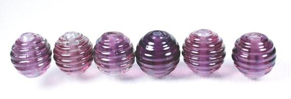 Petite Amethyst Ribbed Glass Beads Lampwork Handmade Jewelry Supplies