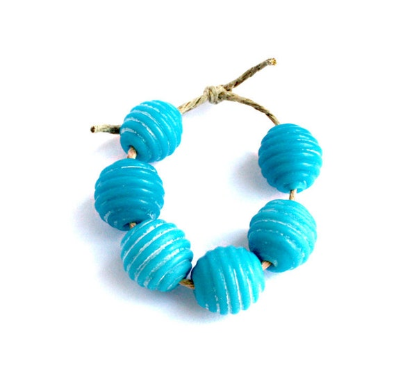 6 Bright Blue Ribbed Petite Lightly Etched Lampwork Handmade Jewelry Supplies