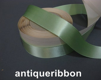 Vintage aqua satin ribbon 1930s  1 in sea green Y944