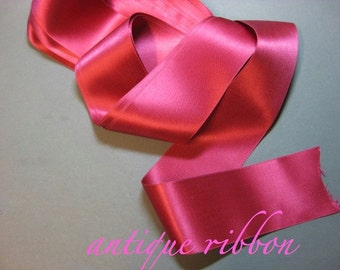 Vintage ribbon antique silk France 2 in rasberry pink Y968