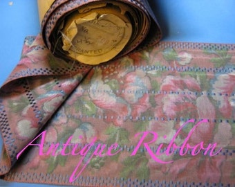 Vintage French Watered silk faille ribbon Victorian era 5 7/8 inch rose B2392
