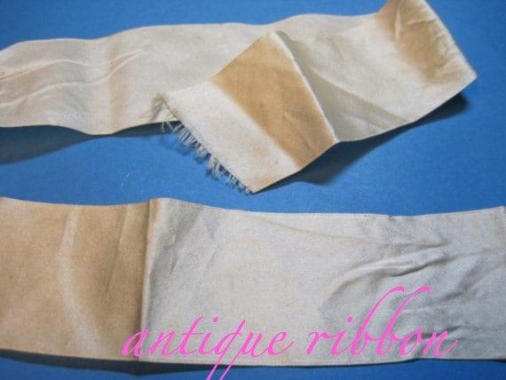 Vintage ribbon antique victorian silk 1 3/8 inch cream Y202