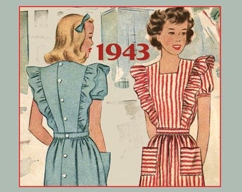 1943 Apron Pattern, Uncut.  War Years, McCalls Ladies Pinafore Apron Style Dress, Ruffles and Pockets. 34 Bust. Feminine
