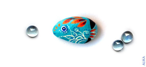 Painted rock stone art  turquoise fish magnet