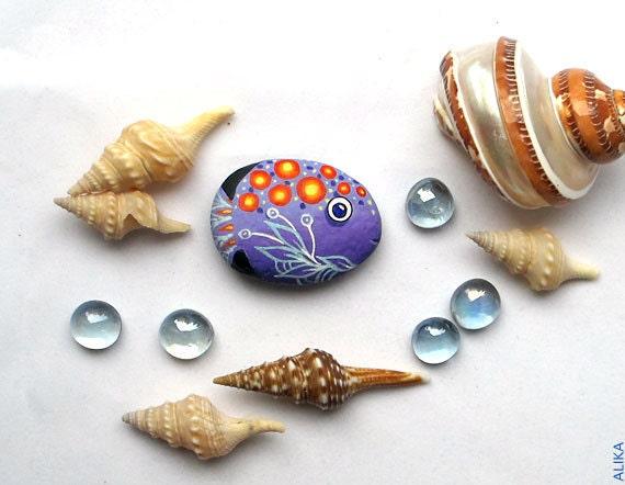 Painted rock stone art  purple fish magnet