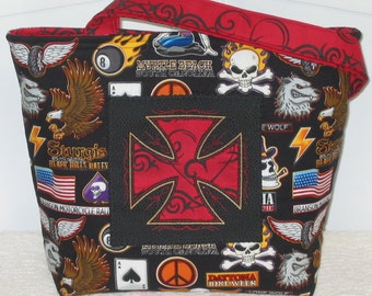 Skull Tote Iron Cross Biker Purse Medium Bag Ready To Ship