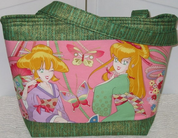 Rare Anime Girl Tote , Miss Butterfly , Pink And Green Ready to Ship
