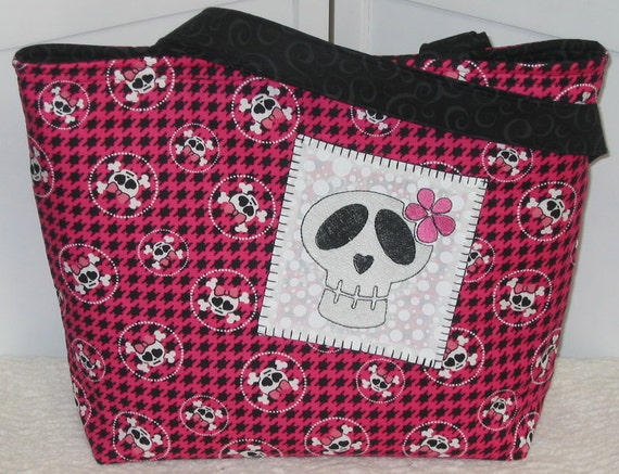 Skull Tote , Girly skull , Pink and Black Hounds Tooth check , Ready To Ship