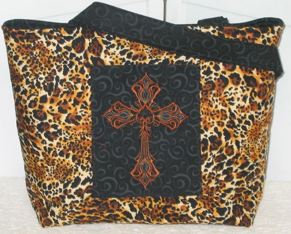 Leopard Print Tote Embroidered Gothic Cross Large Purse  Ready to ship