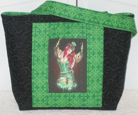 Celtic Fairy Medium Tote Bag Irish Pin Up Girl Emerald Green Ready To Ship