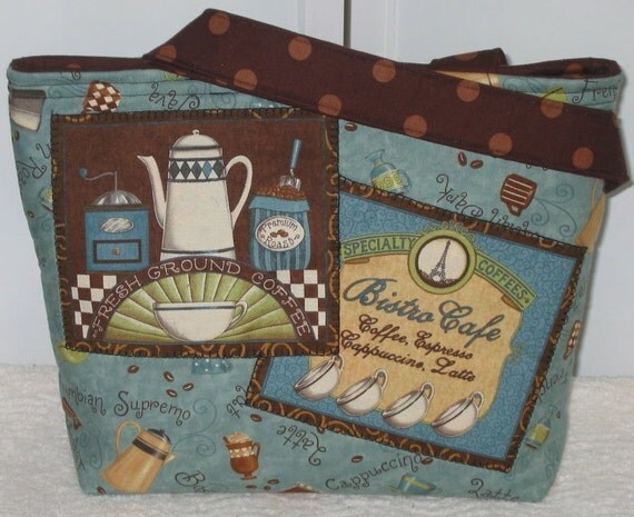 Coffee Tote Bag Mini Tote Cafe Bistro Ready to Ship