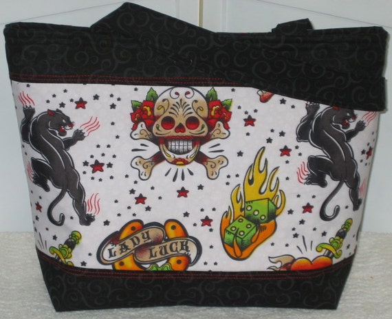 Lady Luck Tattoo Tote Sugar Skull Purse / Multi Colored / Ready To Ship