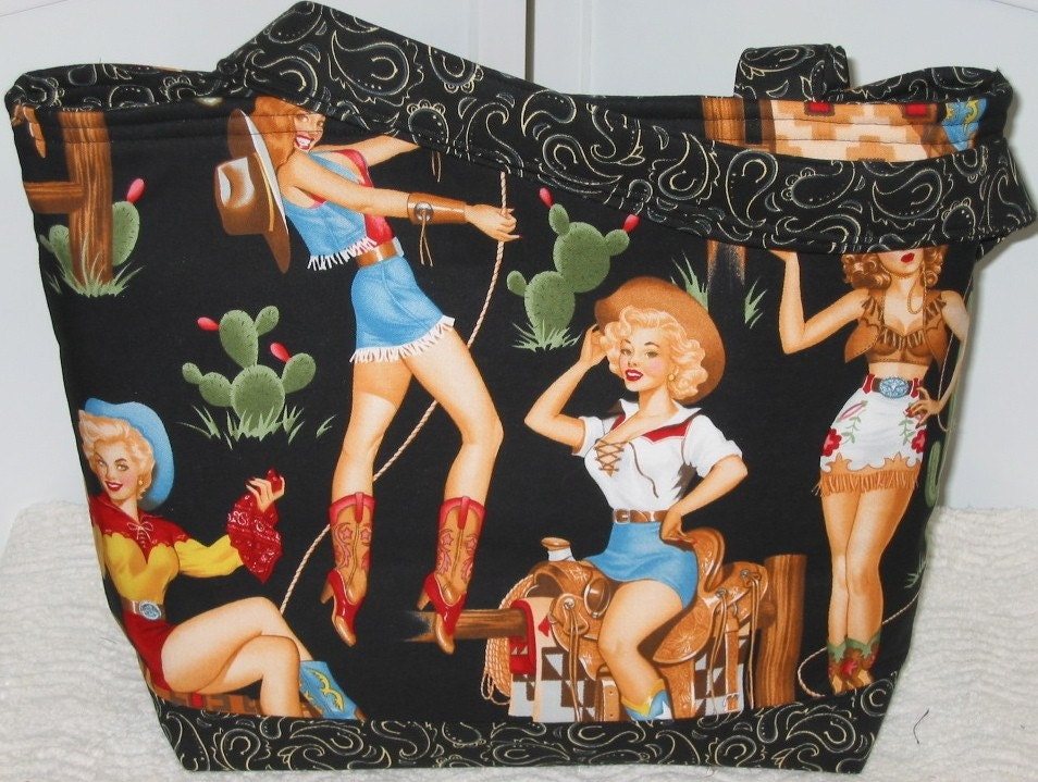 Pin Up Girl Tote Retro Western Cowgirls Ready To Ship