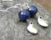 Blue Sapphire Earrings on Sterling Silver