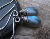 Midnight Sky Earrings - AA Labradorite Briolettes on Oxidized Sterling Silver