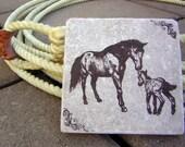 Horse Lover Equestrian Home Decor Tile Coaster Set For Horse Collectors