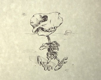 Snoopy Skeleton Print 8x10
