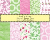 Digital paper pack - Shabby Chic Pink and Green - Joni's garden - scrabooking, card making and more