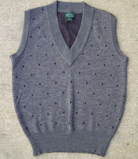 VINTAGE 80'S IZOD MEN'S SWEATER VEST GEOMETRIC SMALL