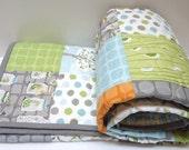 Backyard baby boy quilt, modern, Gray, Grey, Aqua, Orange Made to Order
