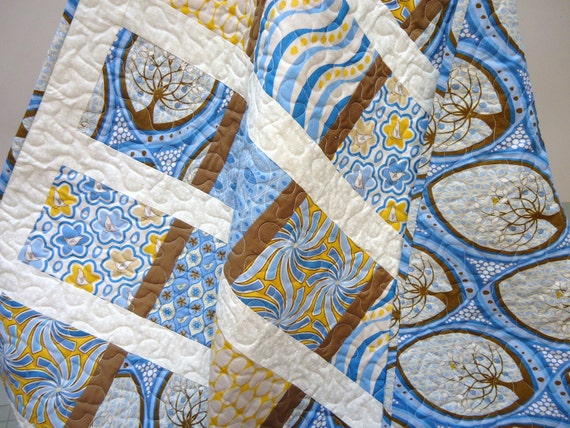 Modern Baby Quilt, Boy Crib Bedding, Toddler Quilt, Handmade Patchwork Quilt,  Blue and Brown,  Pear Tree - Made to Order