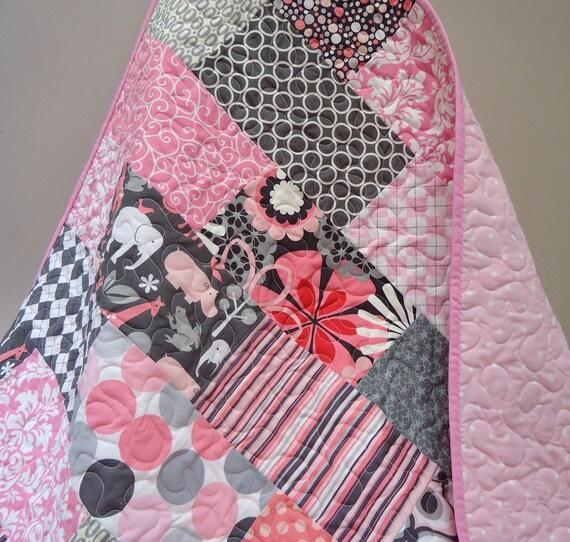 Pink n Grey Mix  Baby/Toddler Girl Quilt