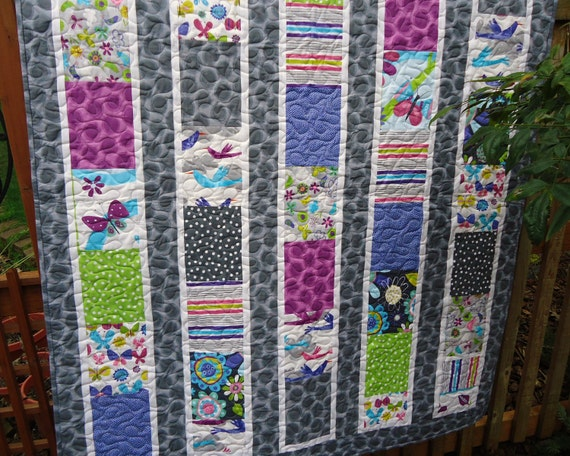 Modern Baby Girl Quilt, Crib Quilt, Baby Bedding Quilt, Birds, Fly Away, Gray,Grey,Purple,Lime Green