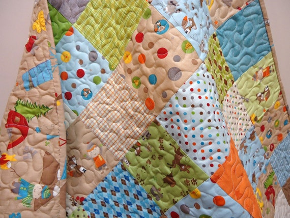 Patchwork Quilt, Modern Baby Boy Quilt - Crib Bedding  - Modern Baby Quilt - Fox Trails-Riley Blake-Animals with Camping Theme