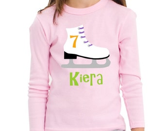 Ice Skate Birthday Shirt Personalized Long Sleeve