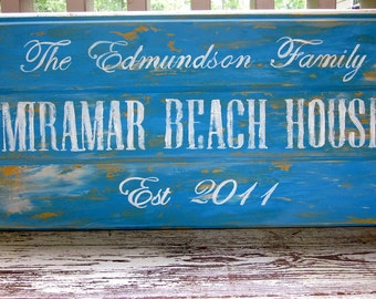 Beach House sign, custom sign with established year and family name,Beach house decor, 3 plank wood sign with painted lettering, Custom