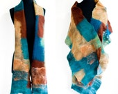 Felted Mosaic scarf in blues, browns and greens, OOAK
