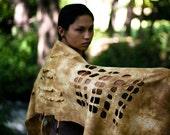 Felted scarf, tribal style, deerskin tans, hand dyed by parvana OOAK