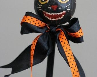 Devilish Black Cat on Stick