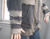 Men's Gift Zipper Hoodie Sweater Custom OOAK Recycled...reuse, upcycle, recycle, eco-friendly, eco, earth, hippie, patchwork, patch