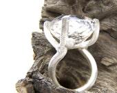 Silver Woodland Crystal Quartz Ring - Crystal Antler