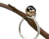 Raw Red Garnet Berry Silver Twig Ring - Golden Berry