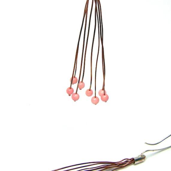 Long Silver Copper Pink Quartz Earrings - Fire Berries