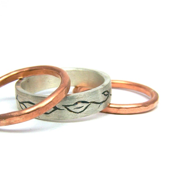 Silver Vine Copper Set Of Three Rings - All Good Things Come In 3s