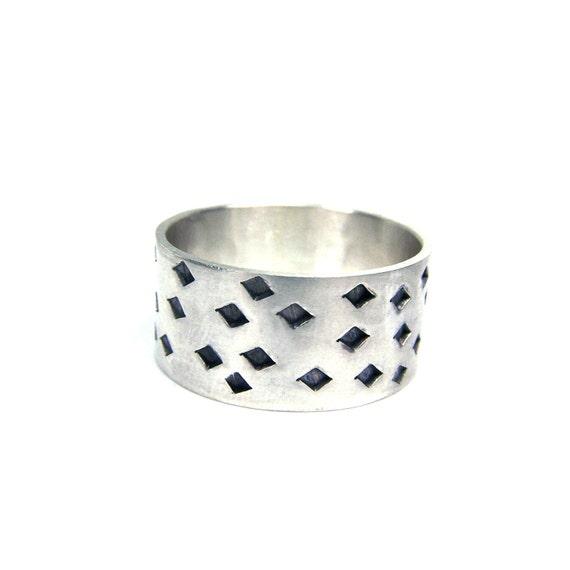 Men's Silver Diamond Shape Ring - Diamond Punch