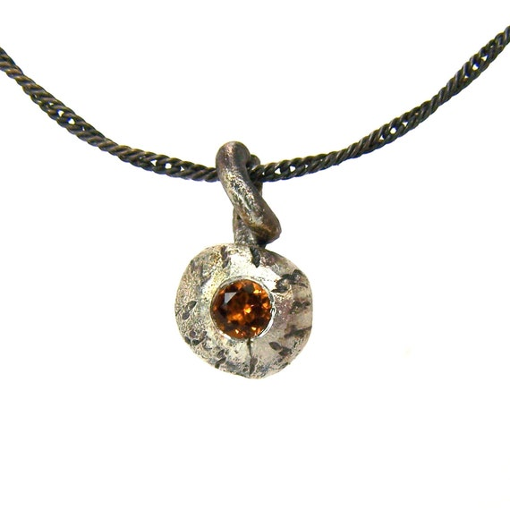 Ghoulish Silver Citrine Eyeball Necklace - Pumpkin Eyeball