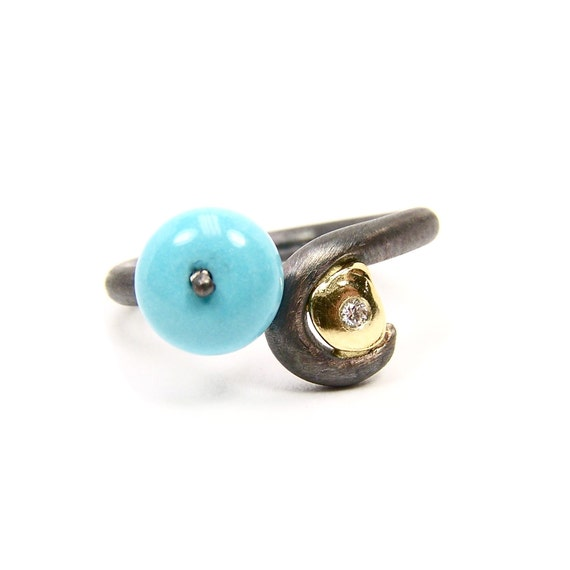 Turquoise Silver Gold Diamond Ring - Turquoise Coil