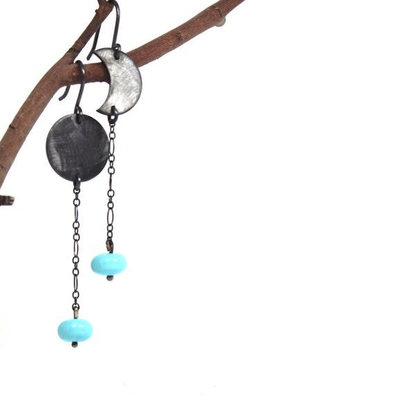Black Silver Moon Turquoise Earrings - Arizona Moons