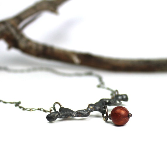 Rustic Woodland Dark Red Berry Necklace Forest Twig - Berry Branch