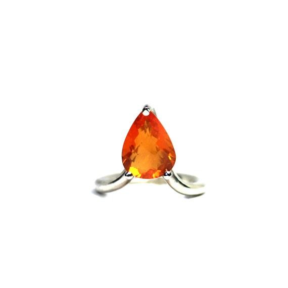Orange Fire Opal Silver Arrow Ring Modern Love - Feuerpfeil