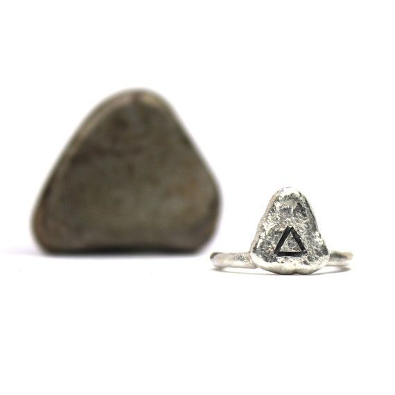 Primitive Triangle Sterling Silver Ring Geometric Engraved - Ancient Triangle