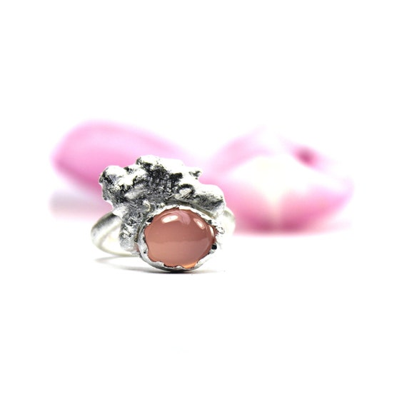 Pink Chalcedony Cloud Ring Silver Puffy Pastel Sunset - Wolkenrosa