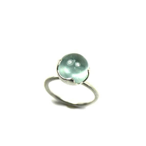 Silver Blue Aquamarine Underwater Ring - Aqua Eye
