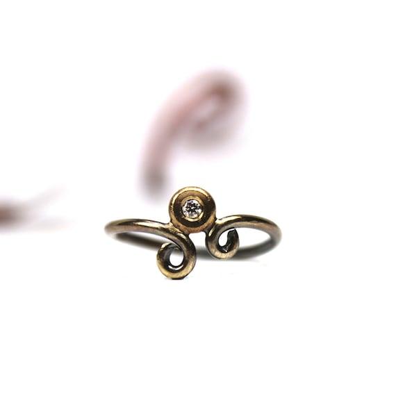 Silver Gold Diamond Scroll Ring - Brilliant Scroll