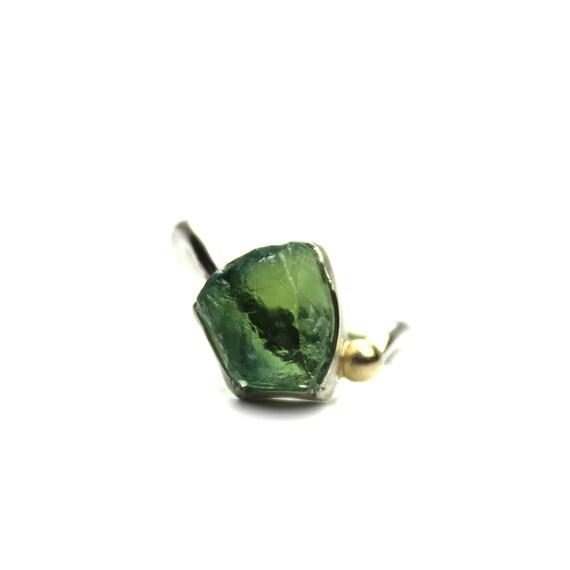 Raw Green Tourmaline Silver Gold Ring - Tourmaline Crest